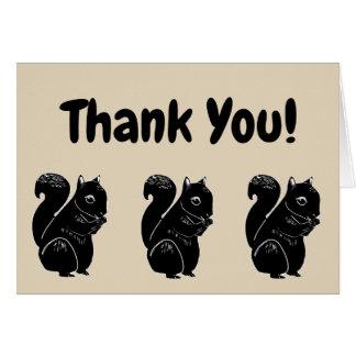 Het zwarte Beige van Eekhoorns dankt u kaardt Briefkaarten 0