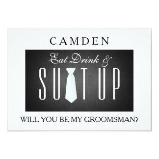 Het zwarte Bord Suitup zal u mijn groomsman zijn 12,7x17,8 Uitnodiging Kaart