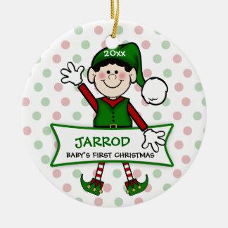 Het zwarte) Elf van de baby van 1st Kerstmis (Boy2 Rond Keramisch Ornament
