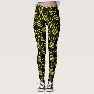 Het zwarte en gele patroon van het palmprint, bouw leggings