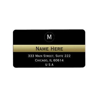 Het zwarte en Gouden Aanvankelijke Monogram van de Etiket