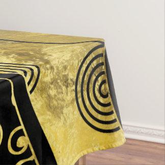 Het Zwarte en Gouden Afrikaanse Patroon van de Tafelkleed