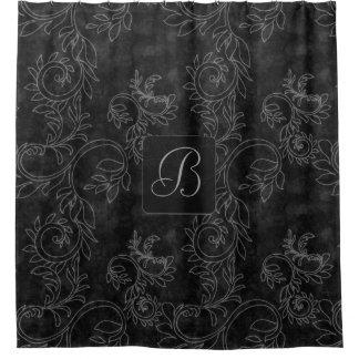 Het zwarte en Grijze Monogram van het Damast Douchegordijn