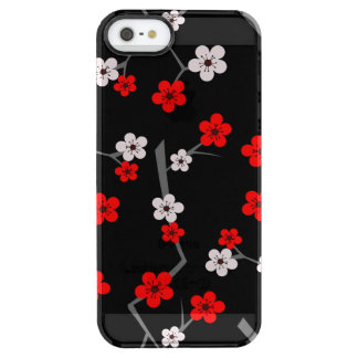 Het zwarte en Rode Patroon van de Bloesem van de Doorzichtig iPhone SE/5/5s Hoesje