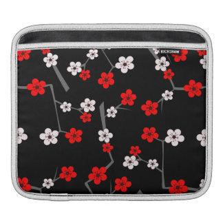 Het zwarte en Rode Patroon van de Bloesem van de iPad Beschermhoes