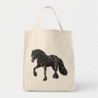 Het zwarte Friesian Paard van het Ontwerp Boodschappen Draagtas