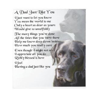 Het zwarte Gedicht van de Papa van Labrador Notitieblok