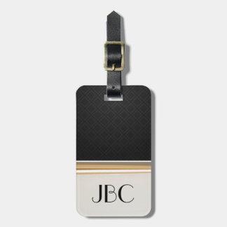 Het zwarte Gestreepte Monogram van de Diamant Kofferlabel