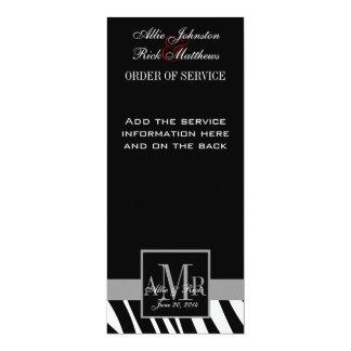 Het zwarte Gestreepte Programma van het Huwelijk 10,2x23,5 Uitnodiging Kaart