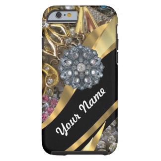 Het zwarte & gouden bling tough iPhone 6 hoesje
