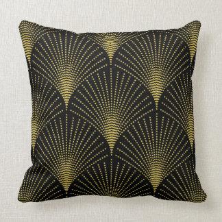 Het zwarte & Gouden Geometrische Patroon van het Kussen
