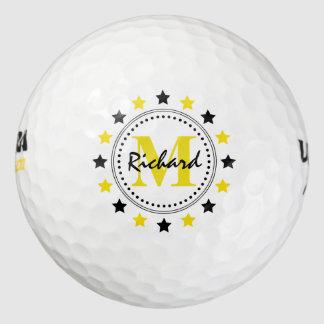 Het zwarte Gouden Monogram van Sterren Golfballen