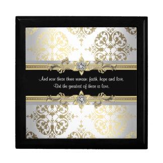 Het zwarte Gouden Vers van de Bijbel van het Vierkant Opbergdoosje Large