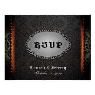 Het Zwarte Grijze Oranje Gotische Briefkaart RSVP