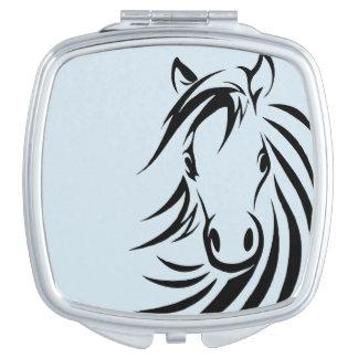 Het zwarte Hoofd van het Paard op Blauw Reisspiegeltjes