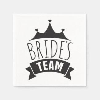 Het zwarte Huwelijk van het Team van Bruiden - Papieren Servetten