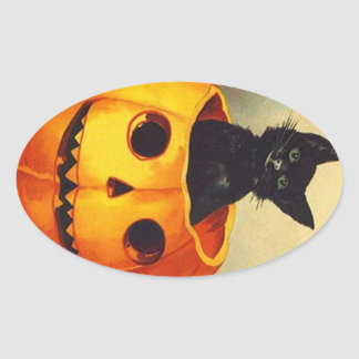 Het Zwarte Katje van Vintage Halloween van de Ovale Stickers