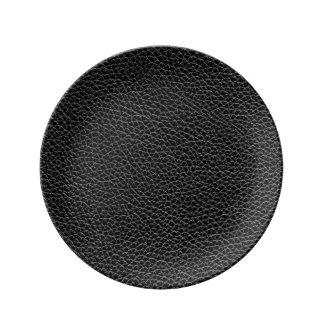 Het Zwarte Leer van Faux Porseleinen Bord