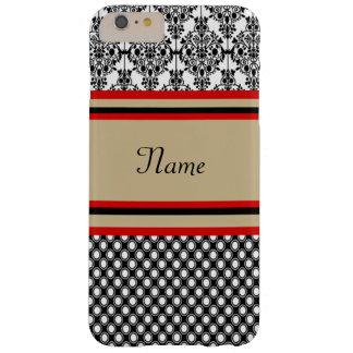 Het zwarte Monogram van het Damast Barely There iPhone 6 Plus Hoesje