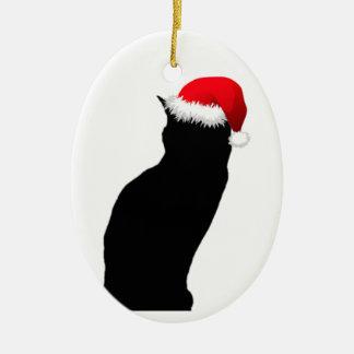 Het zwarte Ornament van de Kerstman van de Kat