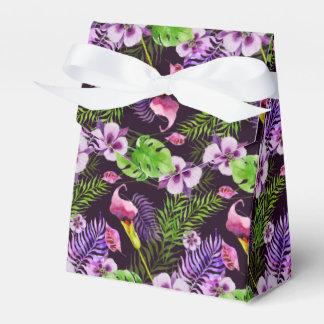 Het zwarte paarse tropische patroon van de bedankdoosjes