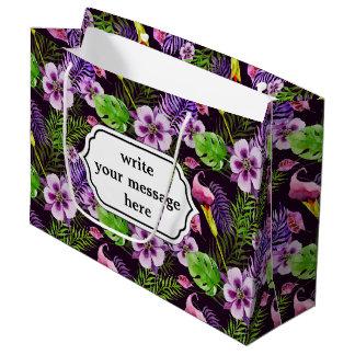 Het zwarte paarse tropische patroon van de groot cadeauzakje