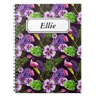 Het zwarte paarse tropische patroon van de ringband notitieboek