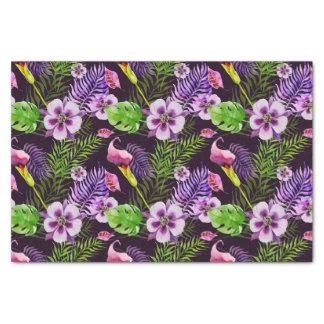 Het zwarte paarse tropische patroon van de tissuepapier