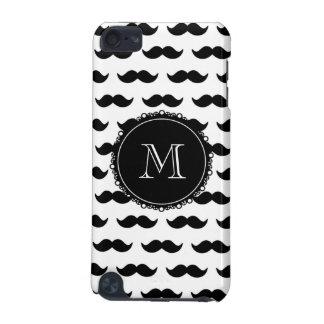 Het zwarte Patroon van de Snor, Uw Monogram iPod Touch 5G Hoesje