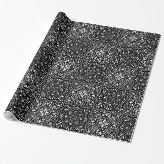 Het zwarte Patroon van Rococo's bloeit Inpakpapier