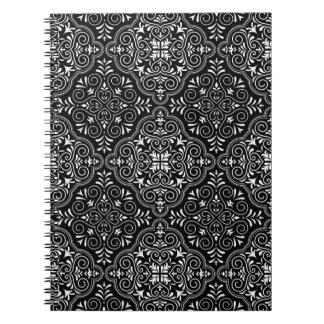Het zwarte Patroon van Rococo's bloeit Notitieboek