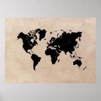 het zwarte poster van de wereldkaart