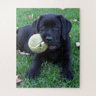 Het zwarte Puppy van Labrador - de Bal van het Legpuzzel