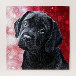 Het zwarte Puppy van Labrador Valentijn Puzzel