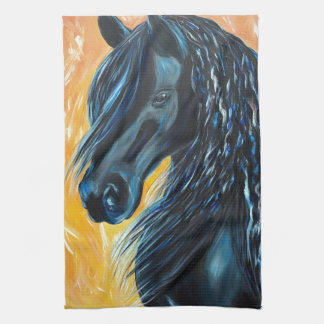 Het zwarte Schilderen van het Paard Theedoek