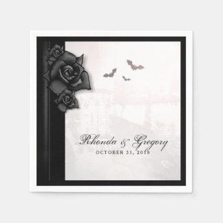 Het zwarte Servet van het Huwelijk van Halloween Papieren Servet