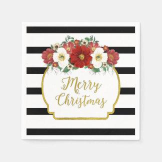 Het zwarte Servet van Kerstmis van de Bloemen van Papieren Servetten