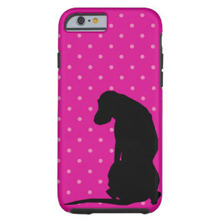 Het zwarte Silhouet Roze Iphone 6 van het Tough iPhone 6 Hoesje