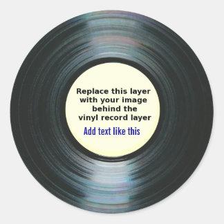Het zwarte VinylEtiket van het Verslag van de Ronde Sticker