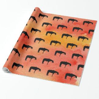Het zwarte Westerne Silhouet van het Paard op Inpakpapier