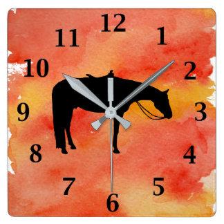 Het zwarte Westerne Silhouet van het Paard op Vierkante Klok