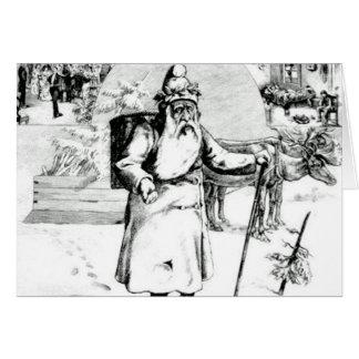 Het Zwarte Wit van de Vintage Kerstman van de Briefkaarten 0
