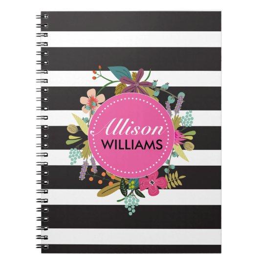 Het zwarte Witte BloemenNotitieboekje van de Ringband Notitieboek