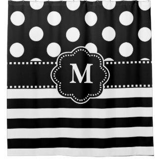 Het zwarte Witte Monogram van de Streep Douchegordijn