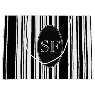 Het zwarte Witte Monogram van de Streepjescode van Groot Cadeauzakje