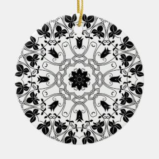 Het zwarte & Witte Mystieke Ornament van Kerstmis