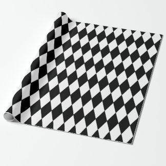 Het zwarte Witte Patroon van de Harlekijn Inpakpapier