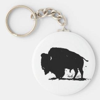 Het zwarte & Witte Silhouet van Buffels Sleutelhanger