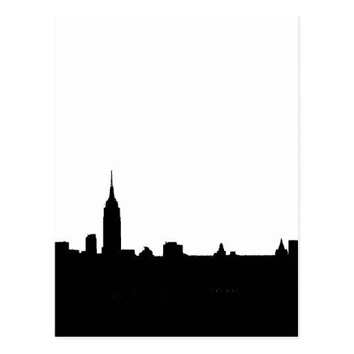 Het zwarte & Witte Silhouet van New York Wens Kaarten