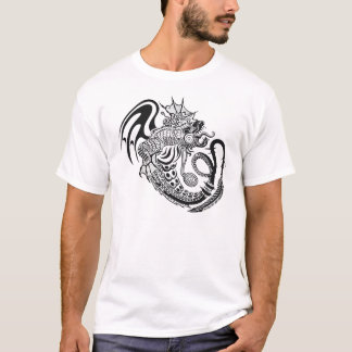 Het zwarte & Witte Versierd Ontwerp van de Draak T Shirt